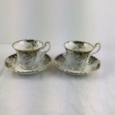 More details for 2x royal albert royal ascot teacup and saucer white gold black tableware china