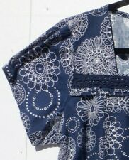 New listing Scrub Top Large, Cherokee Brand, Blue and White with Lace Trim, nursing