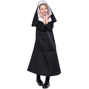 2019 Kids Nun Costume Outfit Halloween Party Fancy Dress Sister Act Cosplay