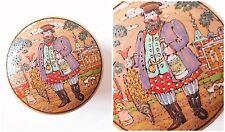 Vintage Russian Box Handpainted Trinket Signed Original Fisherman Man Fish Art