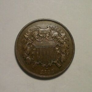 1868 TWO CENT PIECE XF