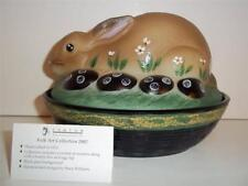 Fenton Glass NATURAL FOLK ART EASTER BUNNY RABBIT BOX DISH 2002 FRANK'S CLOSET