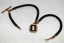 POCKET WATCH  FOB CHAIN ANTIQUE VICTORIAN WOVEN HAIR GOLD AGATE CAMEO RARE