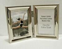 """NEW Silver Hinged Double Metal 2.x3 """" Picture Frame Tabletop or Wall Hang"""