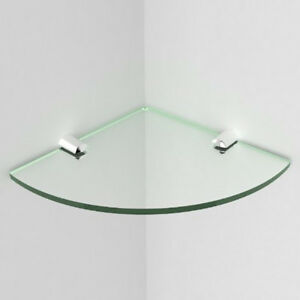 5mm Safety Glass Green Edge Glass Effect Elegant Corner Shelf inc chrome fixings