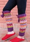 Multicolor Hand Knitted Purple Border Winter Legwarmers
