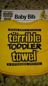 """PITTSBURGH STEELERS """"TERRIBLE TODDLER TOWEL"""" BABY BIB WITH ADJUSTABLE SNAPS"""