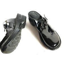 BOC BORN CONCEPT Black Patent Genuine Leather Mules Slip On Shoes C88309 ~sz 9 M