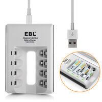EBL USB 4-Slots Charger For AAA AA Battery NiMH NiCD Rechargeable Batteries