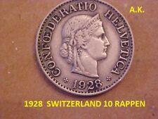 1928 B SWITZERLAND 10 RAPPEN