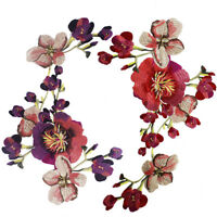 1PCS Embroidered Large Colorful Flower Sew Patch Trim Neckline Appliques WT19