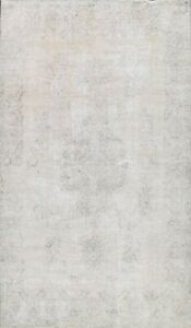 Muted Semi Antique Tebriz Evenly Low Pile Area Rug Handmade Distressed Wool 8x11