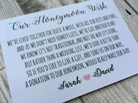 Personalised Wedding Money Poem Card Honeymoon Gift Request White A7 pink heart