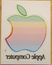 Vintage APPLE Computer Rainbow Logo Window Cling Decal UNUSED Mac Collectible!