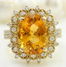 6.34CTW Natural Yellow Citrine and DIAMOND in 14K Solid Yellow Gold Women Ring