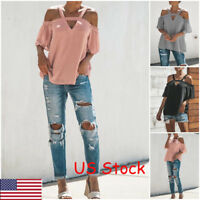 Women Tops T-Shirt Off Shoulder Strappy Casual Beach Loose Summer Blouse