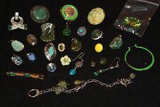 Lot Vintage Modern Jewelry Green Stones Earrings charms Bracelet Hoop Post