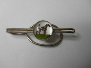 VINTAGE REVERSE PAINTED TIE BAR CLIP - BROWN DOG - STAMPED (GFD WHITE)
