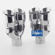 "Pair 2.5"" inlet exhaust tips dual twin round slanted 3"" outlet 9"" long"
