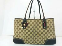 Authentic Gucci Tote Bag Sherry Line Ribbon GG Tote Bag Canvas 56508801