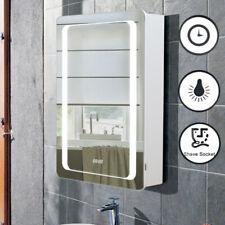 Slim Line LED Illuminated Bathroom Mirror Cabinet Demister Storage Cabinet Clock