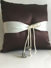 Cowboy Charm,Cowboy Hat and Boot, Brown, Ring Pillow