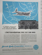 2/1959 PUB AIRCRAFT RADIO TYPE 210 TRANSMITTER RECEIVER ORIGINAL FRENCH AD
