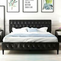 Faux Leather Platform Bed Frame, Adjustable Button Headboard, Black, Queen