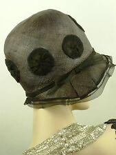 Cappello Vintage Originale 1920s francese Cloche Cappello, fine paglia nera W Bordo in Pizzo & Dots