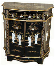 MOTHER OF PEARL ORIENTAL FURNITURE - BLACK LACQUER SHAPED CABINET