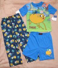 ADVENTURE TIME *Jake & Finn* Blue 3pc S/S Shirt Pajamas Pjs Boys sz 6