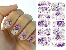 Water Transfer Nail Art Stickers Decal Full Wraps Colorful Blue Purple Flowers
