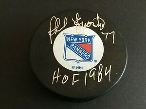 """PHIL ESPOSITO AUTOGRAPHED NEW YORK RANGER PUCK W/ """"HOF1984"""" INSCR.  J.S.A.  AUTH"""