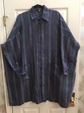 New Eskandar Size 1 1x 2x Blue/White LInen Striped Tunic Dress
