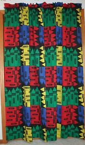 2 Vintage Crayola Crayon Curtain Panels Primary Mutlicolor Cotton Blend Kids USA