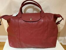 NWT Longchamp Le Pliage Cuir LG Medium Top Handle Red Leather Neo Crossbody Bag