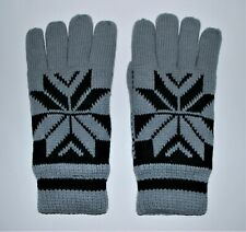 Mens Gray Sherpa Gloves Small Knit Fleece Lining