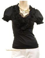 Black Marineblu Victorian Chiffon Tulle Rosettes Twisted Ruffle Blouse Shirt Top