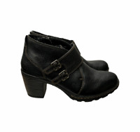 Born BOC Double Strap Ankle Boots Booties Leather Black Size 8.5