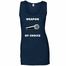 Novelty Music Ladies Vest Weapon of Choice Microphone Musicians Favourite Tool