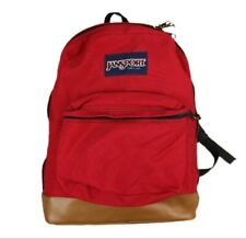 Vtg Jansport Backpack Leather Bottom Made in USA Red Canvas Book Bag