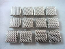"12 Square Silver Tone Stippled Studs Clothing Decoration 1/2"" Leather Craft"