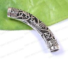 Wholesale 5Pcs Tibetan Silver Long Tube Bending Charms Spacer Beads 50MM B1831