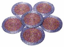 Multicolor Beaded Round Handmade Placemat Table Decor Coffee Tea Coaster Set of6