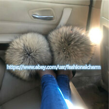 Max Large XXL Real Natural Raccoon Fur Slides Womens Sandals Slippers Shoes