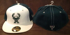 Milwaukee Bucks NEW ERA 59FIFTY Fitted Hat NBA Deer Logo Throwback Grn/Whi 7 1/2