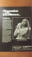 1982 Vintage Ad Electro Voice PL80 Mic ~ Crystal Gayle