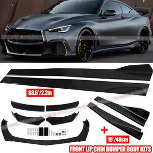 """Carbon Fiber Car Front Rear Bumper Lip Spoiler+86.6"""" Side Skirt Kit For Infiniti"""