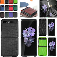 For Samsung Galaxy Z Flip Phone Real Leather Skin&PC Shockproof Cover Case Shell
