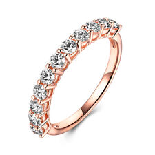 Prong Setting Round 0.8ct Moissanite Ring Solid 18K Rose Gold Wedding Band Gift